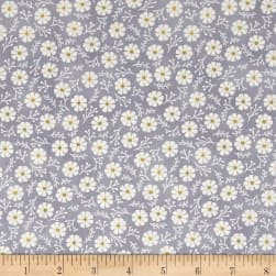 Believe You Can Tiny Flowers Gray Fabric