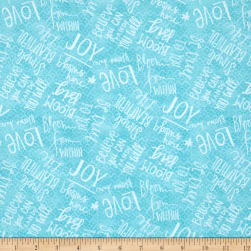 Believe You Can Words Allover Blue Fabric
