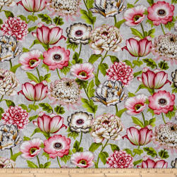 Tivoli Garden Large Florals Light Grey Fabric