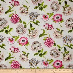 Tivoli Garden Tossed Flowers Ivory Fabric
