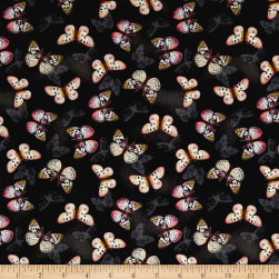 Tivoli Garden Butterflies Black Fabric
