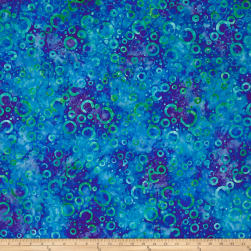 Wilmington Batiks Floating Circles Dark Blue/Green Fabric