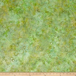 Wilmington Batiks Floating Circles Green/Gold Fabric