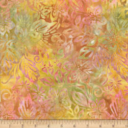 Wilmington Batiks Packed Floral Mix Orange/Yellow Fabric