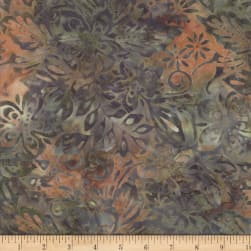 Wilmington Batiks Packed Floral Mix Gray/Orange