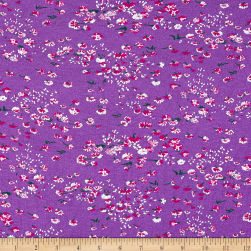 Italian Designer Tissue Knit Floral Purple/White/Pink Fabric