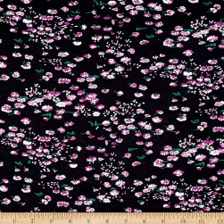 Italian Designer Tissue Knit Floral Black/White/Pink Fabric