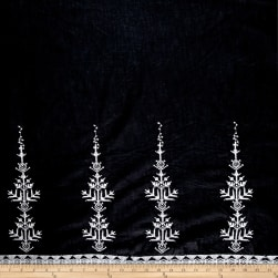 Embroidered Cotton Double Border Diamond Tree Black/White Fabric