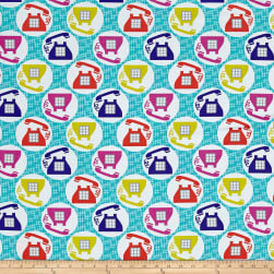 Michael Miller Hello Call Me! Aqua Fabric