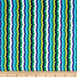 Michael Miller Hello Bracket Stripe Aqua Fabric