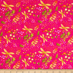 Michael Miller Frolic On The Wind Raspberry Fabric