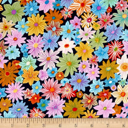 Michael Miller Our Yard Daisy Garden Midnite Fabric