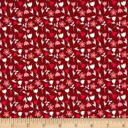 Michael Miller In Bloom Flower Yard Wine Fabric