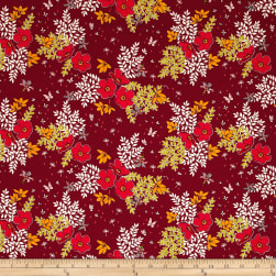 Michael Miller In Bloom Garden Patch Wine Fabric