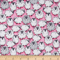 Michael Miller Flannels Sheepish Pink Fabric