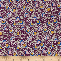 Liberty Fabrics Kensington Crepe de Chine Huckleberry Purple/Mustard/Grey