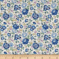 Liberty Fabrics Classic Tana Lawn Felicite Roses Blue/White