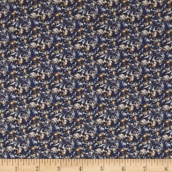 Liberty Fabrics Saville Poplin Alba Navy/Orange Fabric