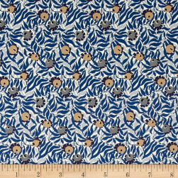 Liberty Fabrics Saville Poplin Huckleberry Blue/Orange/Grey Fabric