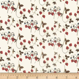 Liberty Fabrics Regent Silk Chiffon Strawberry Fields Cream/Cherry