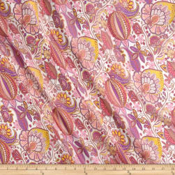 Liberty Fabrics Regent Silk Chiffon Citronella Cream/Purple/Yellow