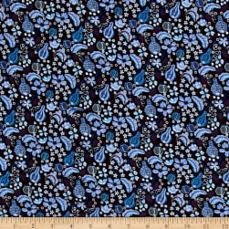 Liberty Fabrics Regent Wool Jersey Knit Fruitful Eggplant/Blue