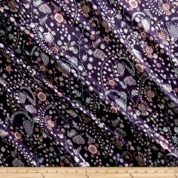 Liberty Fabrics Belgravia  Silk Satin Charmeuse Crochet Meadow Purple/Pink