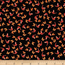 Poppy Garden Scattered Butterflies Black Fabric