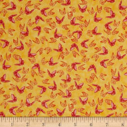 Poppy Garden Scattered Butterflies Light Gold Fabric