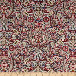 Liberty Fabrics Tana Lawn Peach Nouveau Red/Green/Blue Fabric