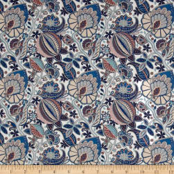 Liberty Fabrics Tana Lawn Citronella Vine Blue/Cream Fabric