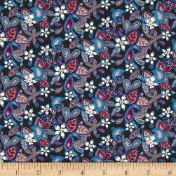 Liberty Fabrics Tana Lawn Lemon Flowers Aqua/Pink Fabric