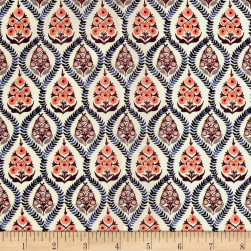 Liberty Fabrics Tana Lawn Bohemia Cream/Blue/Burgundy Fabric