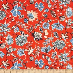 Liberty Fabrics Tana Lawn Winter Floral Peach/Blue/Green Fabric