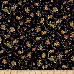 Liberty Fabrics Tana Lawn Floral Thyme Black/Purple Fabric