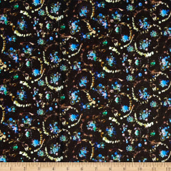 Liberty Fabrics Tana Lawn Floral Thyme Black/Turquoise Fabric