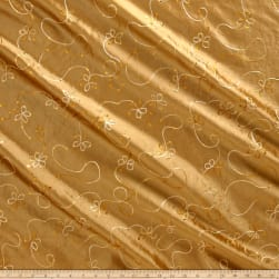 Embroidered Sequin Taffeta Gold Fabric