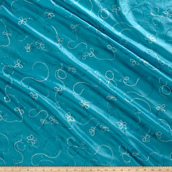Embroidered Sequin Taffeta Turquoise Fabric
