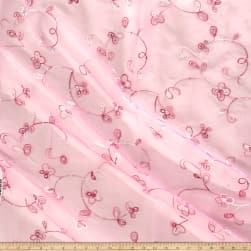 Embroidered Sequin Organza Light Pink Fabric