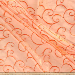 Embroidered Sequin Organza Orange