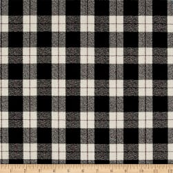 Luxury Wool Crepe Suiting Black/Ivory/Gray Plaid Fabric