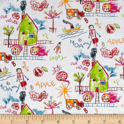 Michael Miller Rainbow Our House White Fabric