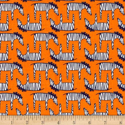 Michael Miller Trekking Zig Zag Zebra Orange Fabric