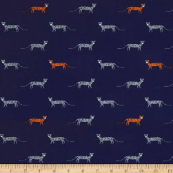 Michael Miller Trekking You're A Cheetah Navy Fabric