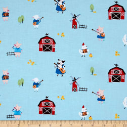 Michael Miller Happy Hoedown Stay Tuned Sky Fabric