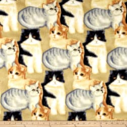 Polar Fleece Kitten Craze Beige/Grey Fabric