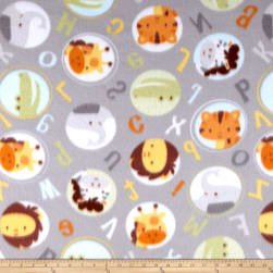 Polar Fleece Alphabet Zoo Grey Fabric