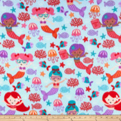 Polar Fleece Studious Mermaids Blue Fabric
