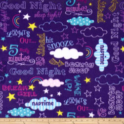 Polar Fleece Bedtime Lingo Purple Fabric