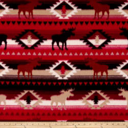 Polar Fleece Moose Stripe Red/Brown Fabric